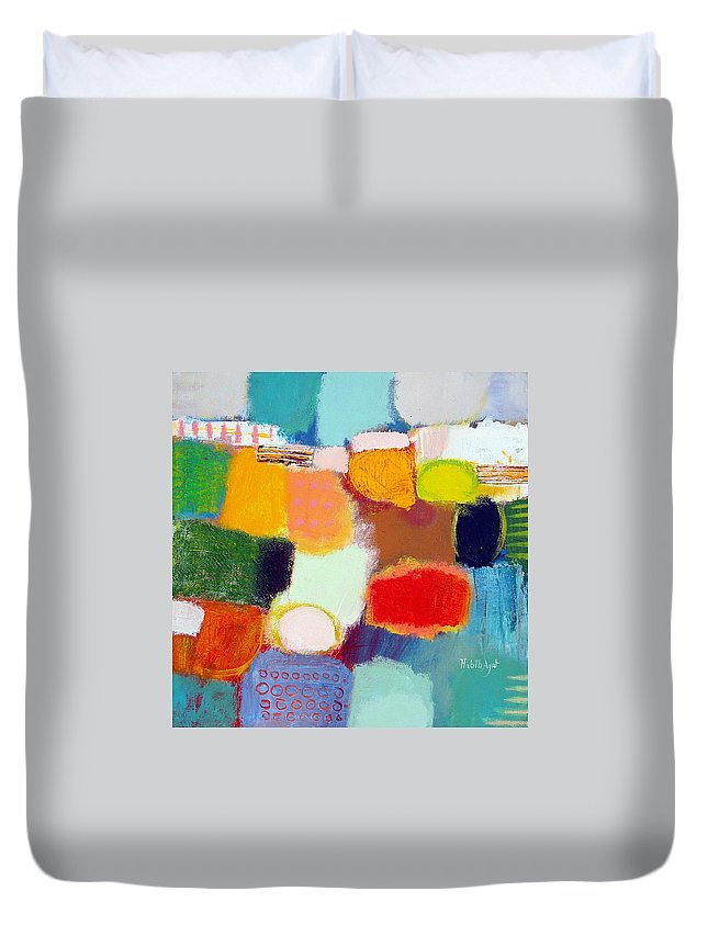 Peace Duvet Cover featuring the painting Peace And Joy 1 by Habib Ayat