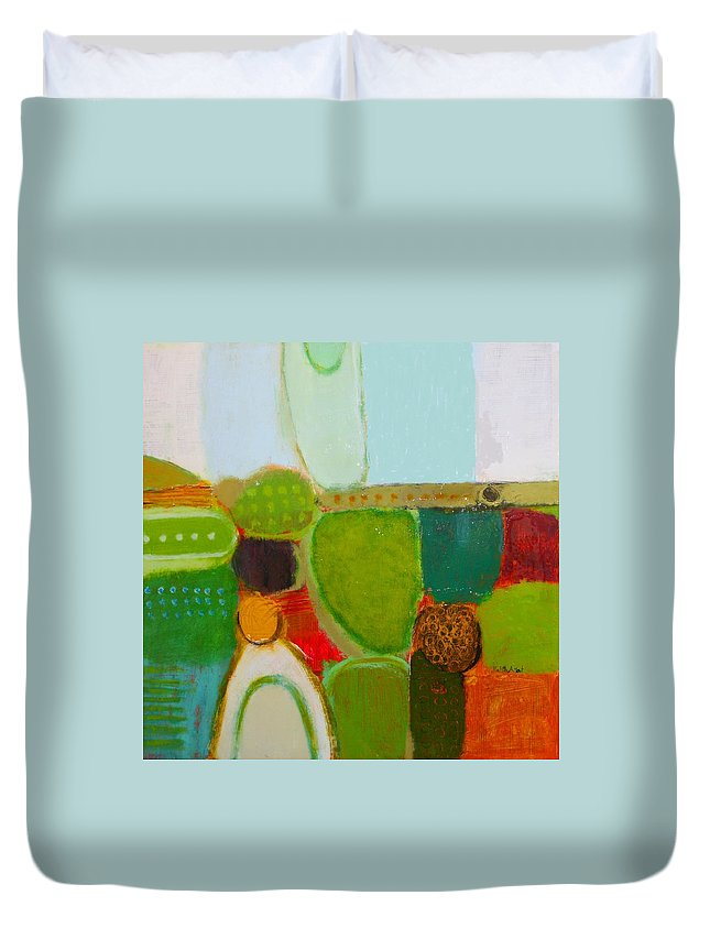Abstract Duvet Cover featuring the painting Peace And Joy 4 by Habib Ayat
