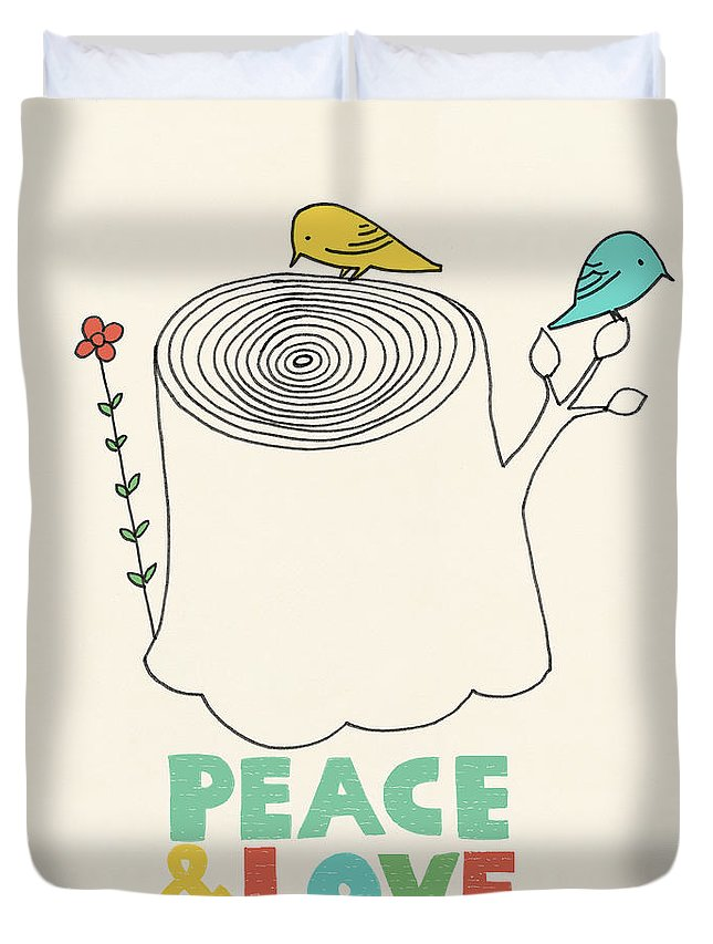 Birds Duvet Cover featuring the drawing Peace And Love by Eric Fan