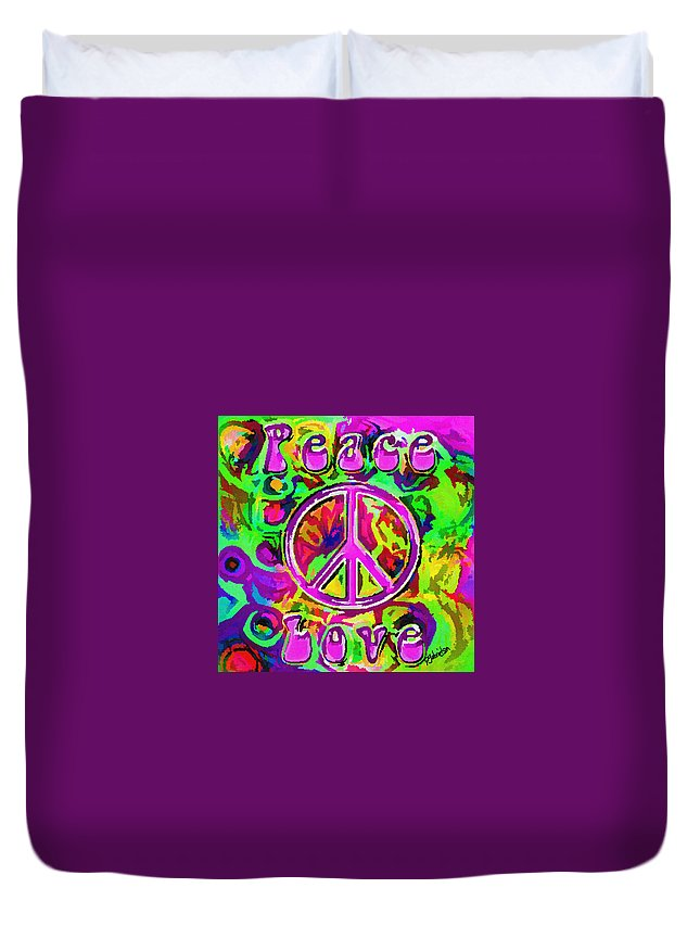 Abstract Words Duvet Cover featuring the digital art Peace And Love by Peggy Gabrielson