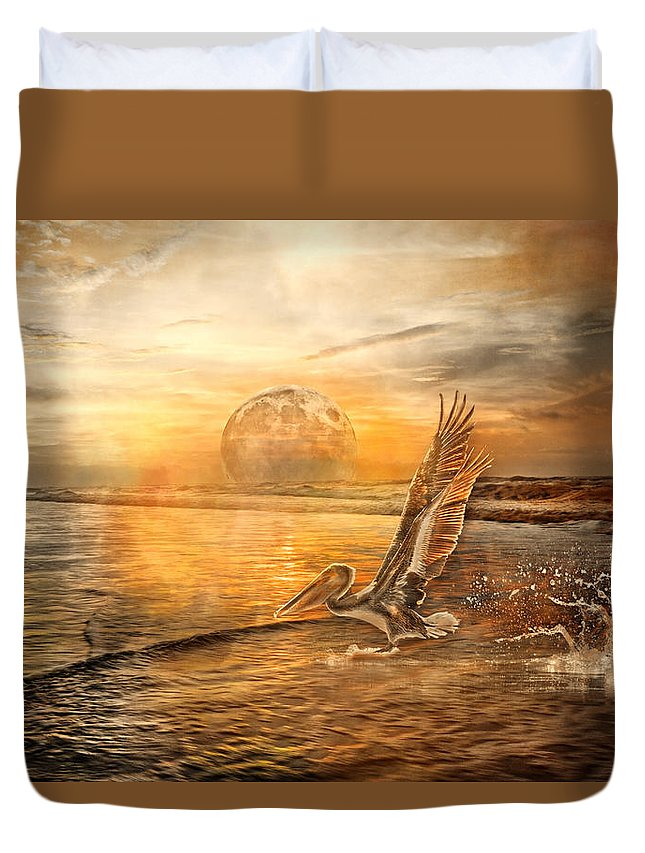 Pelican Duvet Cover featuring the photograph Peace by Betsy Knapp