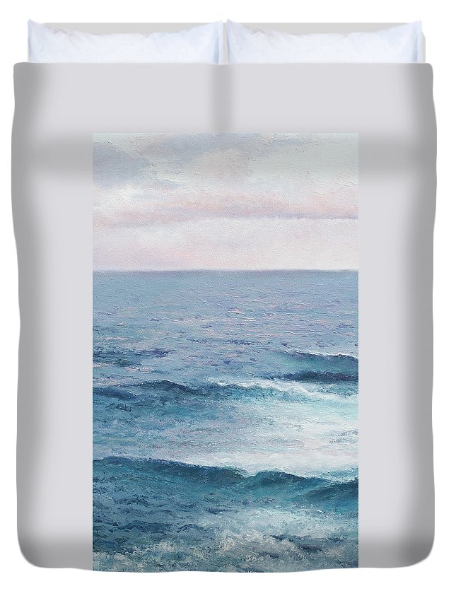 Ocean Duvet Cover featuring the painting Peace by Jan Matson