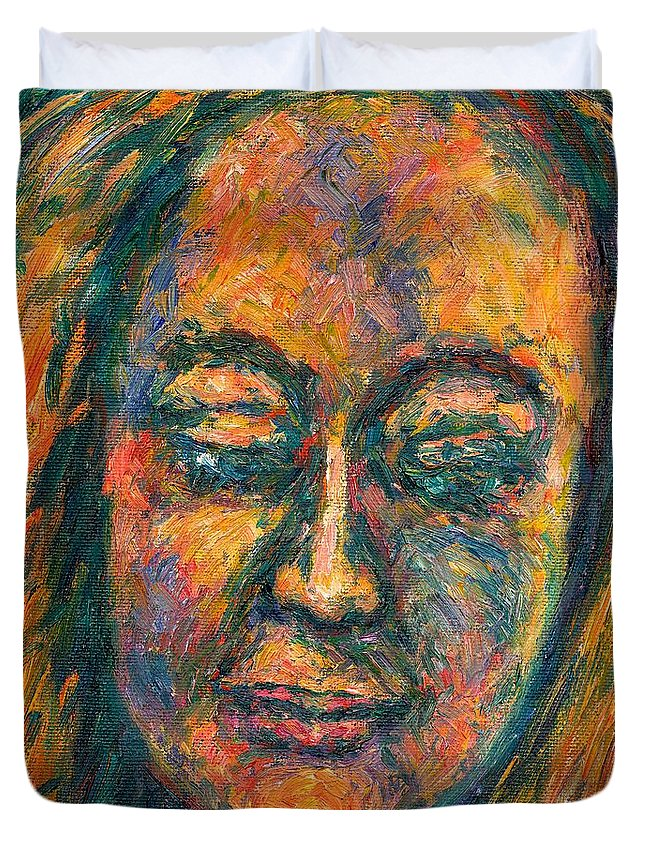 Woman Duvet Cover featuring the painting Peace by Kendall Kessler