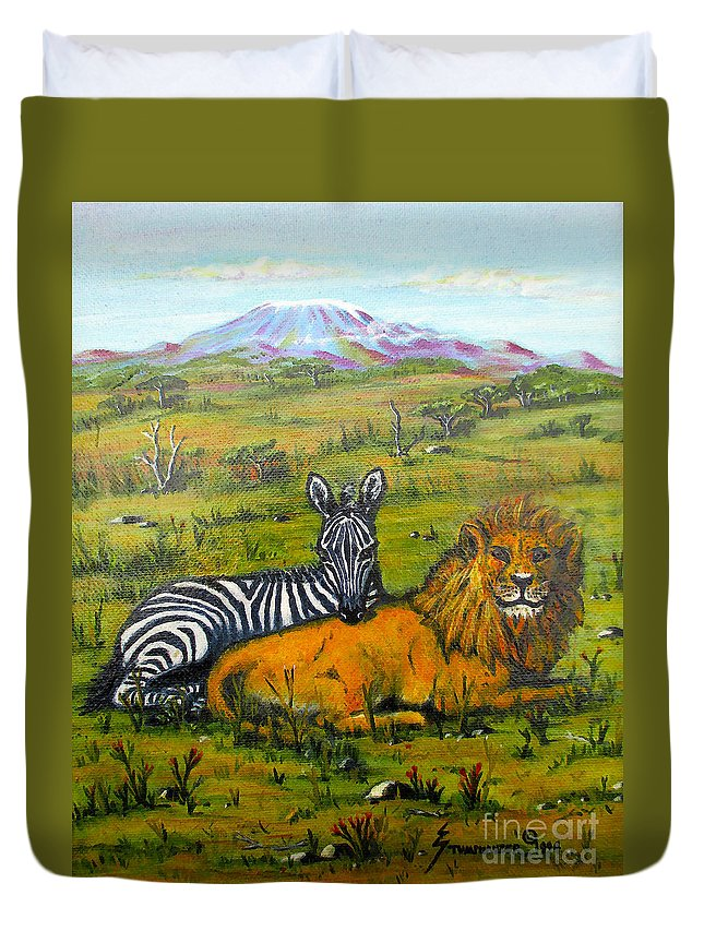 Peace Duvet Cover featuring the painting Peace On Earth by Jerome Stumphauzer