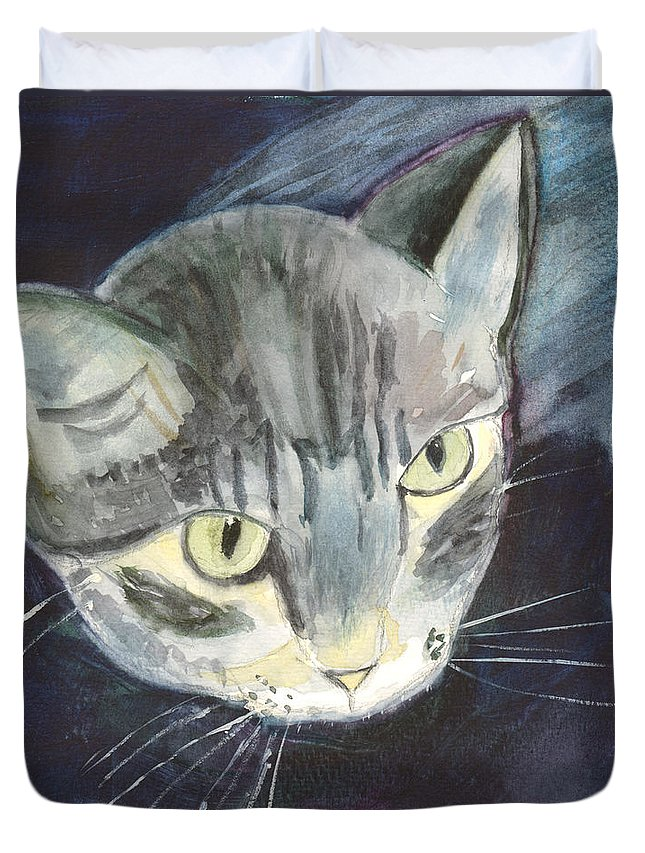 Kitten Duvet Cover featuring the painting Peace The Cat by Mickey Krause