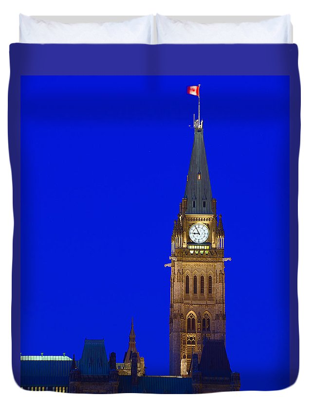 Peace Tower Duvet Cover featuring the photograph Peace Tower by Tony Beck