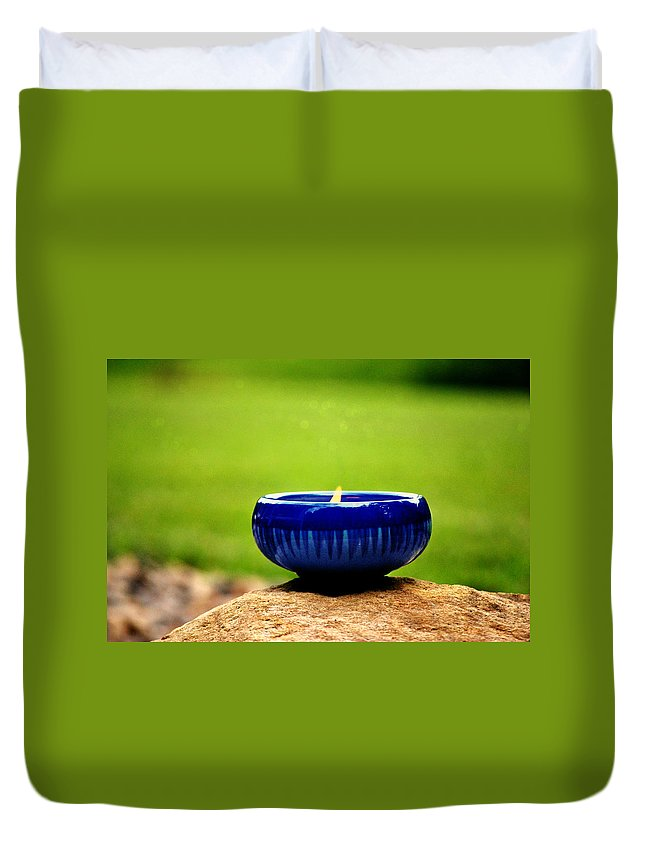 Blue Bowl Duvet Cover featuring the photograph Peaceful Blue by Chastity Hoff