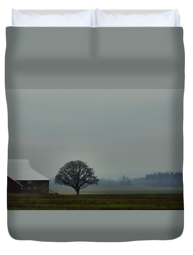 Country Road Duvet Cover featuring the photograph Peaceful Country Morning by Don Schwartz