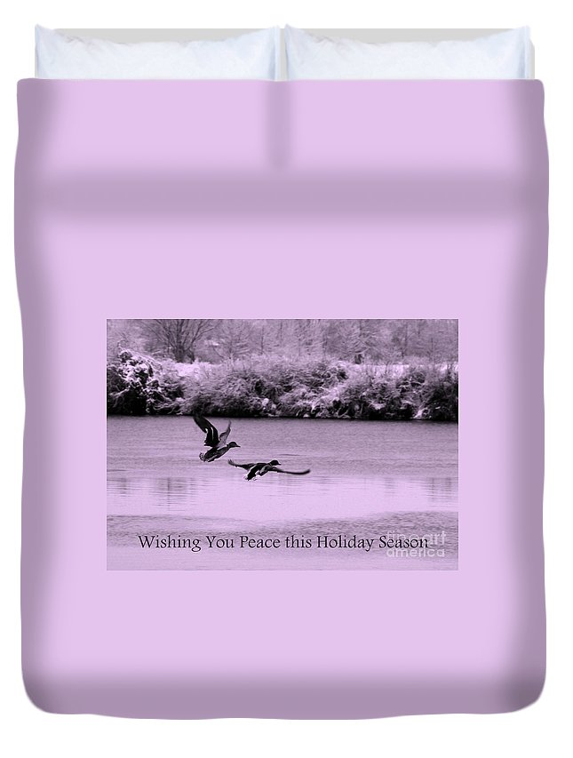 Holiday Card Duvet Cover featuring the photograph Peaceful Holidays Card - Winter Ducks by Carol Groenen