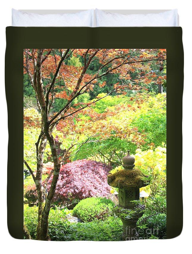 Light Duvet Cover featuring the photograph Peaceful Japanese Garden by Carol Groenen