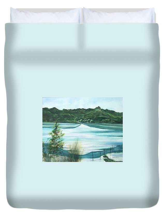 Lake Duvet Cover featuring the painting Peaceful Lake by Debbie Lewis