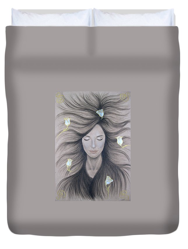 Peaceful Duvet Cover featuring the painting Peaceful by Lynet McDonald