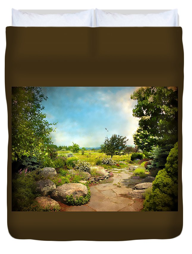 Landscape Duvet Cover featuring the photograph Peaceful Path by Jessica Jenney