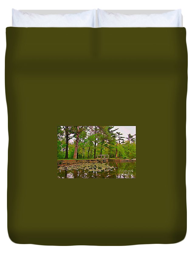 Paceful Pond Duvet Cover featuring the painting Peaceful Pond by John Malone