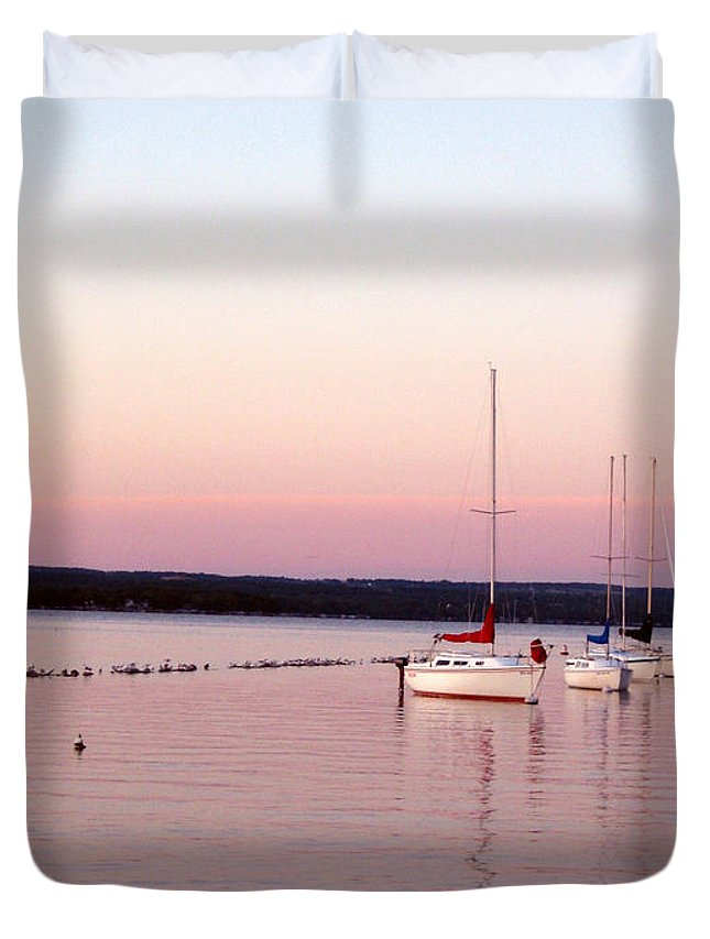 Boats Duvet Cover featuring the photograph Peaceful Shores by Mary Cloninger