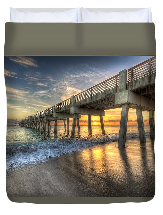Blue Duvet Cover featuring the photograph Peaceful Surf by Debra and Dave Vanderlaan