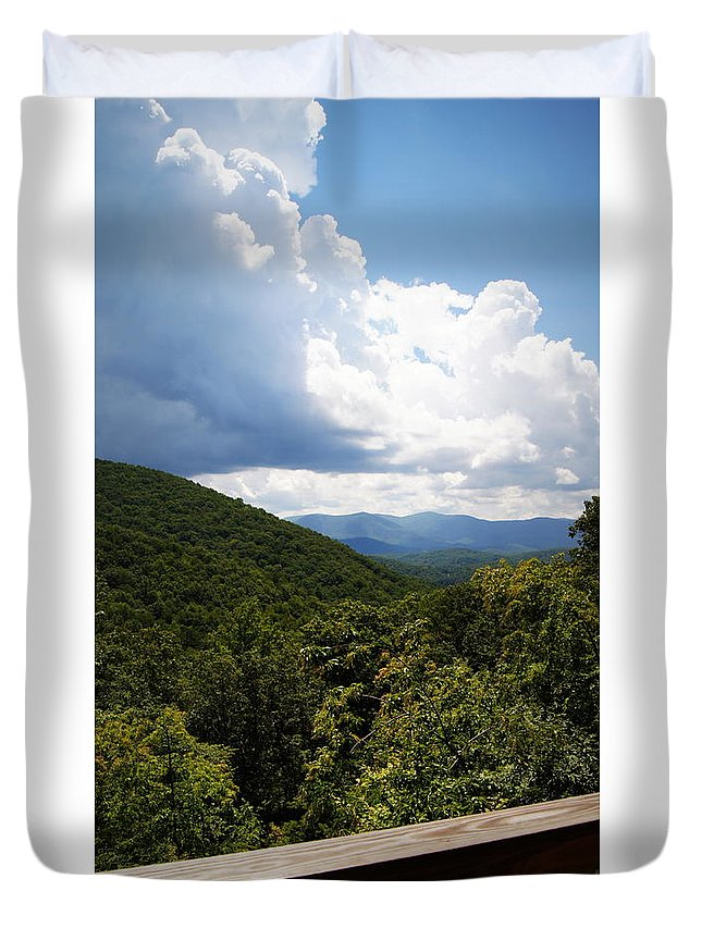Blue Ridge Mountains Duvet Cover featuring the photograph Peaceful View by Paul Wilford