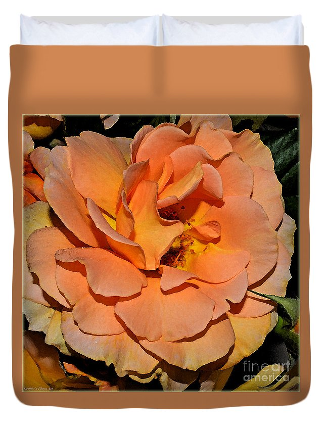 Nature Duvet Cover featuring the photograph Peach Rose - Digital Paint by Debbie Portwood