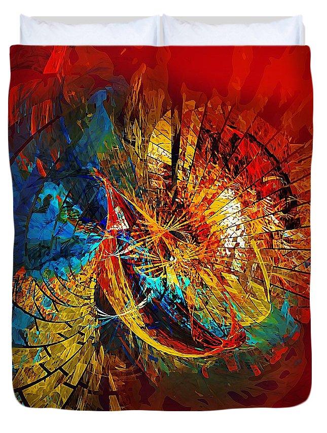 Abstract Duvet Cover featuring the digital art Peacock 3 by Marek Lutek