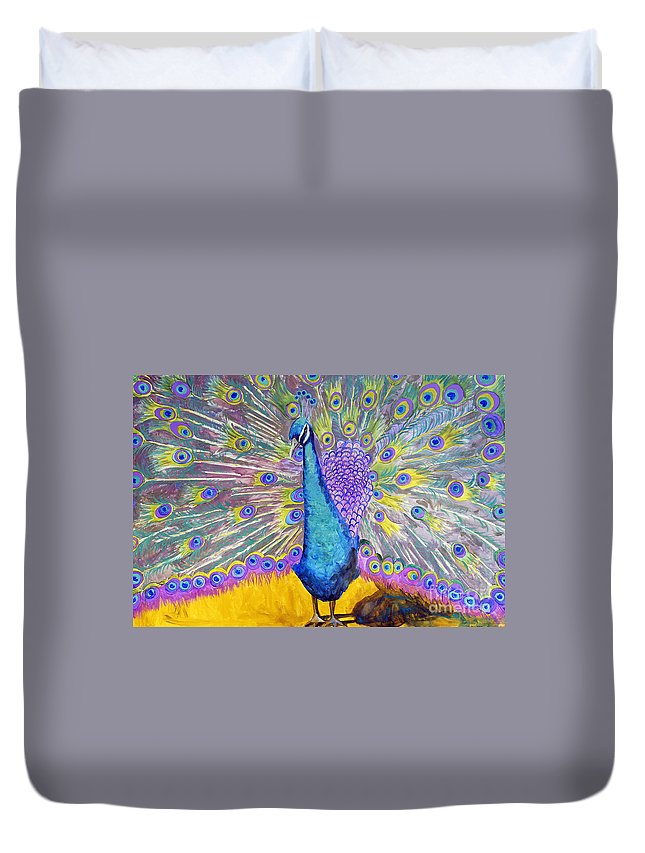 Art Duvet Cover featuring the painting Peacock Dance by Miriam Schulman
