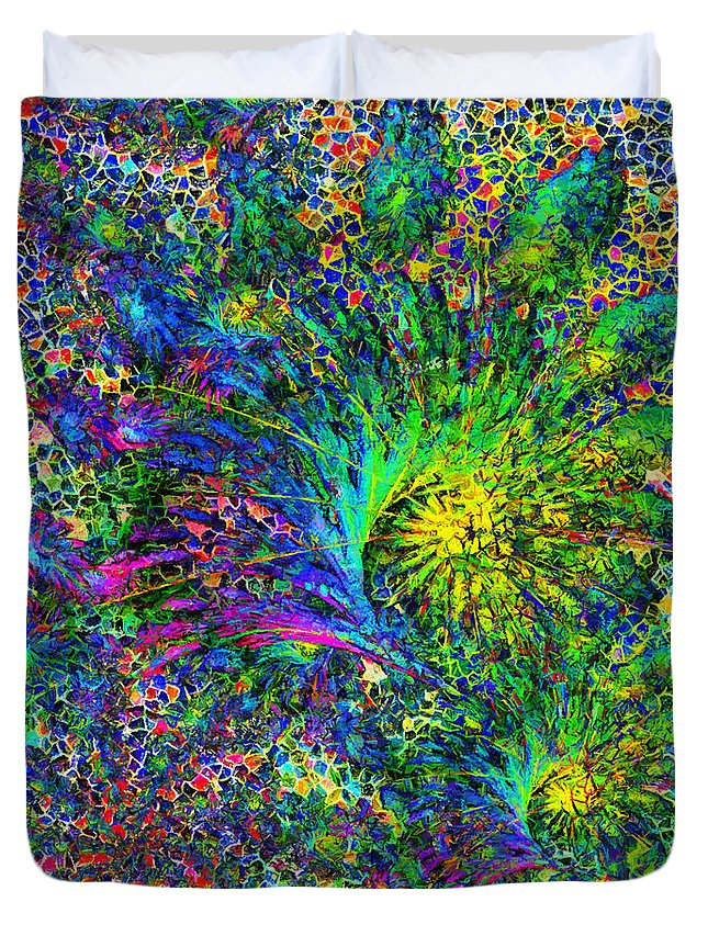 Abstract Duvet Cover featuring the mixed media Peacock Feather Abstract by Georgiana Romanovna