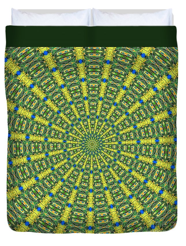 Peacock Duvet Cover featuring the photograph Peacock Feathers Kaleidoscope 2 by Rose Santuci-Sofranko