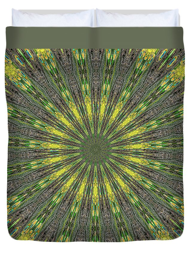Peacock Duvet Cover featuring the photograph Peacock Feathers Kaleidoscope 5 by Rose Santuci-Sofranko