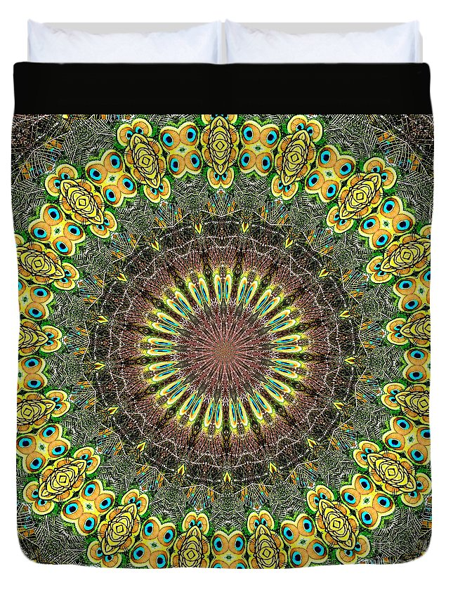 Peacock Duvet Cover featuring the photograph Peacock Feathers Kaleidoscope 7 by Rose Santuci-Sofranko