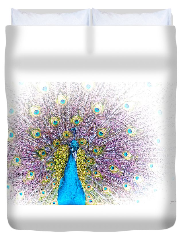 Animals Duvet Cover featuring the photograph Peacock by Holly Kempe