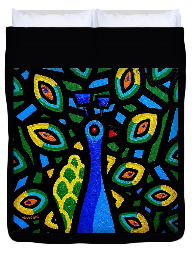 Ireland Duvet Cover featuring the painting Peacock IIi by John Nolan