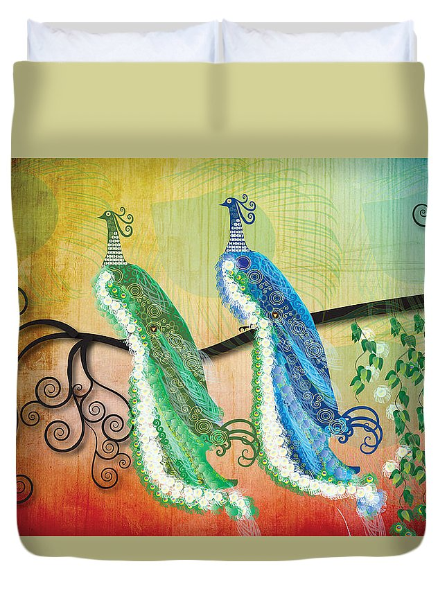 Swirls Duvet Cover featuring the digital art Peacock Love by Kim Prowse