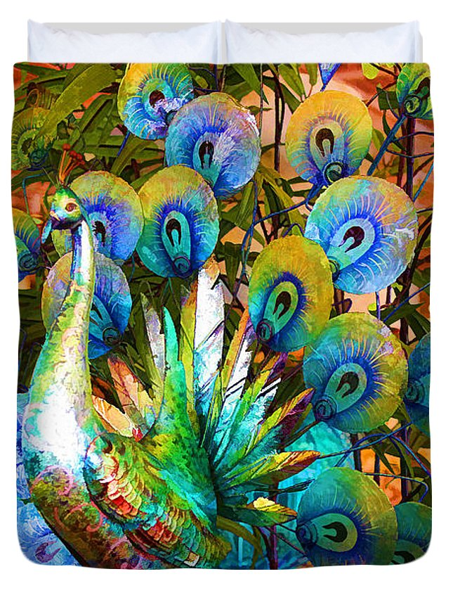 Abstract Peacock Duvet Cover featuring the photograph Peacock by Siera Anthony