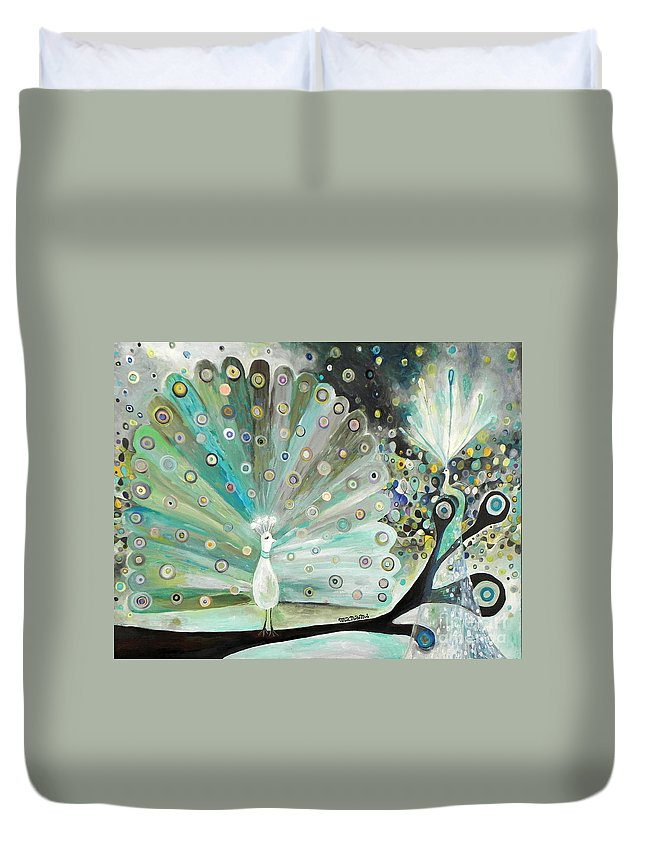 Peacock Duvet Cover featuring the painting Peacocks by Manami Lingerfelt