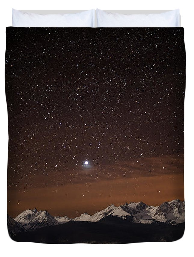 Gore Range Duvet Cover featuring the photograph Peaked Interest by Jon Blake