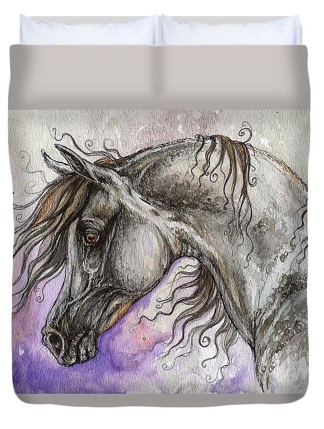 Horse Duvet Cover featuring the painting Pearl Arabian Horse by Angel Ciesniarska