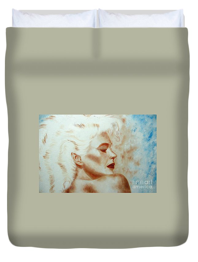 Beauty In Blue Duvet Cover featuring the painting Pearl, Comments Please by Kenneth Claes