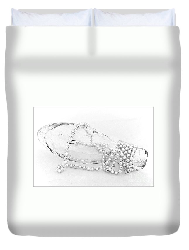 Bottle Duvet Cover featuring the photograph Pearls And Old Glass Abstract by Susie Peek