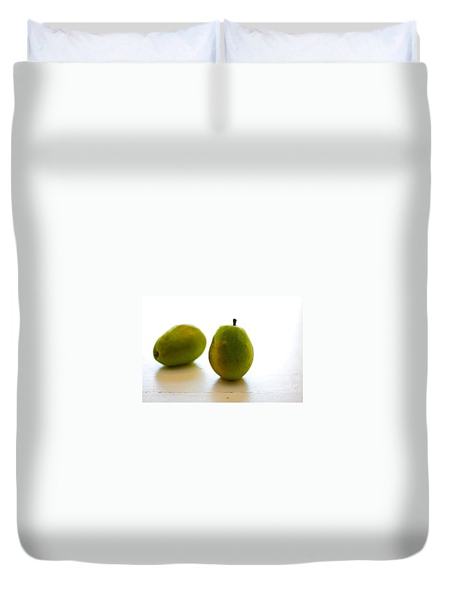 Green Duvet Cover featuring the photograph Pears On A White Background by Kathleen Odenthal