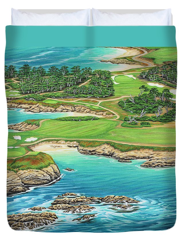 Ocean Duvet Cover featuring the painting Pebble Beach 15th Hole-south by Jane Girardot