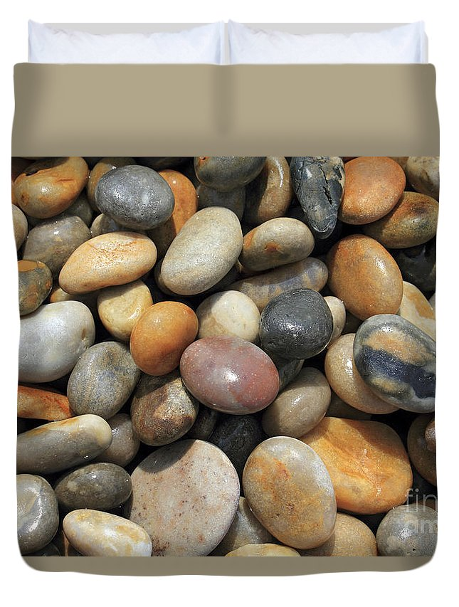 Pebble Beach Chesil Uk Duvet Cover featuring the photograph pebble beach Chesil UK by Julia Gavin