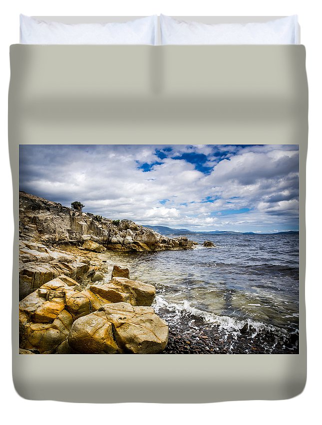 Beach Duvet Cover featuring the photograph Pebbled Beach Under Dramatic Skies Number Two by Kaleidoscopik Photography