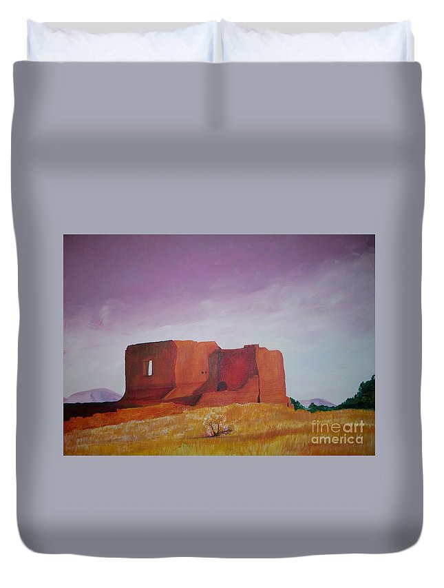 Western Duvet Cover featuring the painting Pecos Mission Landscape by Eric Schiabor