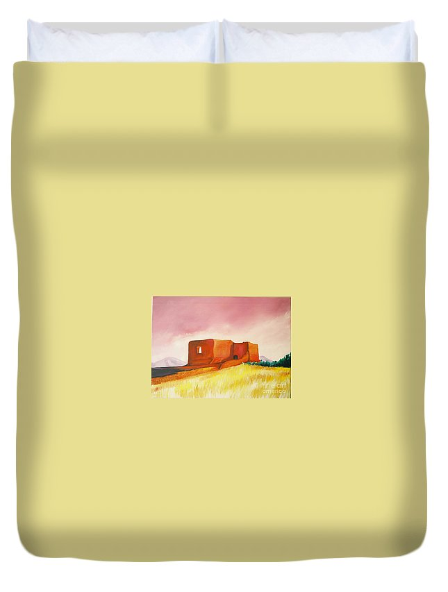 Western Landscapes Duvet Cover featuring the painting Pecos Mission Nm by Eric Schiabor