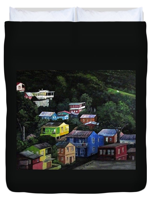 Yauco Duvet Cover featuring the painting Pedazito De Yauco Cerro by Luis F Rodriguez