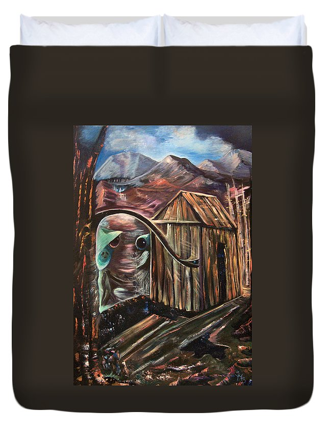 Shack Duvet Cover featuring the painting Peek A Boo by Sue Stake
