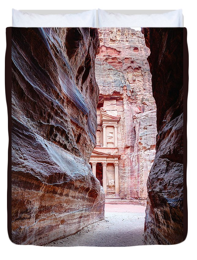 Petra Duvet Cover featuring the photograph Peeking Through by Alexey Stiop