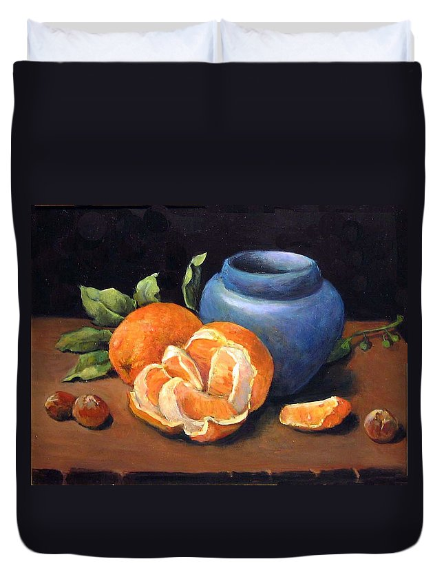 Classical Realism Still Life Duvet Cover featuring the painting Peeled Orange by Donna Tucker