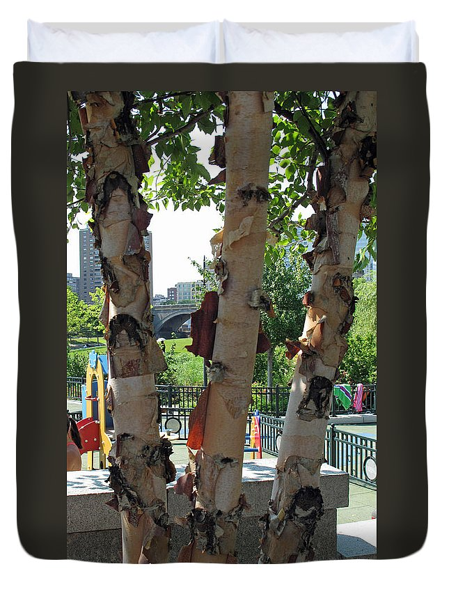Tree Duvet Cover featuring the photograph Peeling Bark by Barbara McDevitt