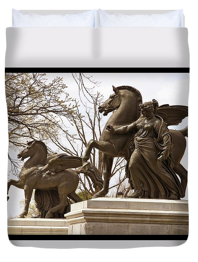 Pegasus Statues Duvet Cover featuring the photograph Pegasus by Alice Gipson