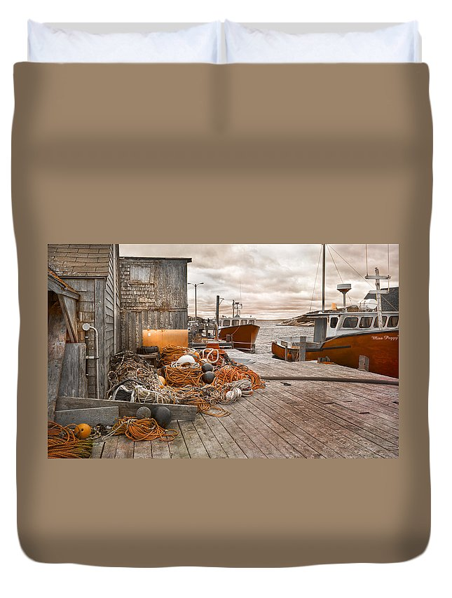 Peggy's Duvet Cover featuring the photograph Peggy's Cove 17b Hue by Betsy Knapp